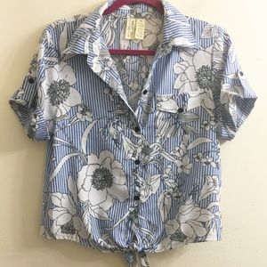 Midnight sky striped floral button down top size M